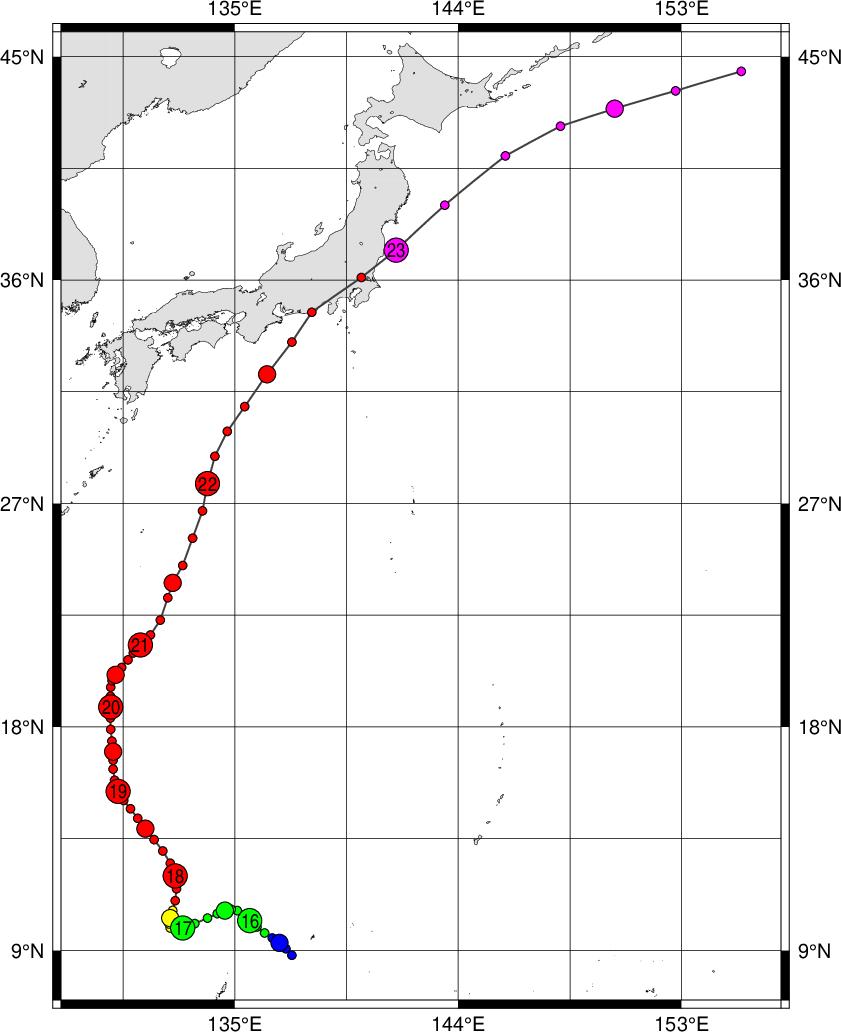 デジタル台風 台風201721号 lan 詳細経路情報