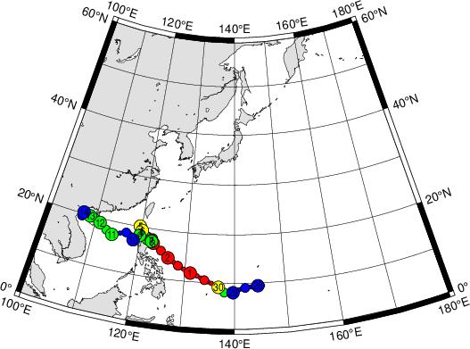 中心気圧時系列グラフ(時間=UTC) 毎日の衛星画像 09/29  総合情報(気圧・経路図)