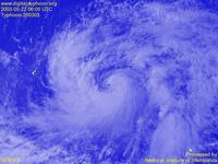 Typhoon Wallpaper Image : Typhoon 200303 (CHAN-HOM) : The first observation by GOES-9. May 22, 2003, 0600 UTC : 1024x768 (VIS)