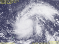 Typhoon Wallpaper Image : Typhoon 200504 (NESAT) : Typhoon NESAT whose clear and sharp eye became visible (0200 UTC)
