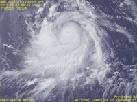 Typhoon Wallpaper Image : Typhoon 200504 (NESAT) : Typhoon NESAT whose upper level digergence of clouds is clearly visible (0600 UTC)