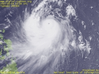 Typhoon Wallpaper Image : Typhoon 200504 (NESAT) : Typhoon NESAT with the strong spouting of clouds to the south (0500 UTC)