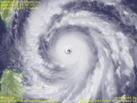 Typhoon Wallpaper Image : Typhoon 200815 (JANGMI) : Typhoon 200815 having very thick clouds at the center with the clearly visible eye (03 UTC)