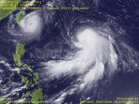 Typhoon Wallpaper Image : Typhoon 201215 (BOLAVEN) : Typhoon TEMBIN becoming more compact, while Typhoon BOLAVEN becoming more gigantic (03 UTC)