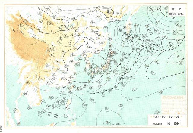 デジタル台風:東京オリンピック開幕日の天気 - 過去の天気図